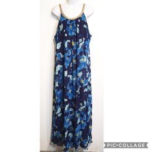 Charming Charlie Blue Floral Print Grecian Dress